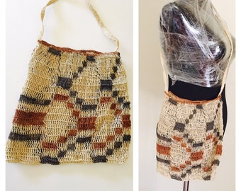 Bohemian Bag, Hand Made in the Amazon, Souvenir, Vintage Ethnic fabric, Natural Color no dyes, tem no. BDE002