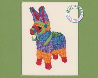 PAPER DONKEY CARD - Birthday Card - Original Artwork - Piñata - Funny Birthday Card - Card for Him - Card - All Occasion Card - Item A008