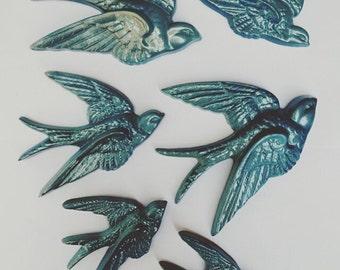 Metallic Blue Plastic Sparrow Bird Wall Decor Hangings - Set of 6