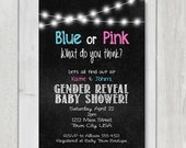 Gender Reveal Baby Shower Invite, gender reveal printable invite, Blue or pink what do you think, Pink & Blue baby shower