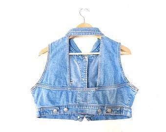 peekaboo backless vintage '90s blue jean crop top . size small medium