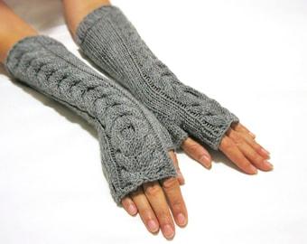 BLACK FRIDAY SALE Knit Fingerless gloves | Knitted Fingerless Mittens | Arm Warmers | Wrist Warmers | Gray Long Fingerless Gloves