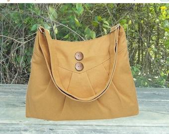 Summer Sale 10% off yellow cross body bag / messenger bag / shoulder bag / diaper bag  - cotton canvas