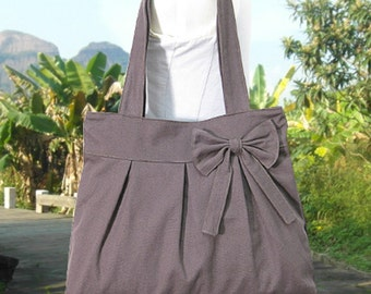 brown cotton fabric purse with bow / tote bag / shoulder bag / hand bag / diaper bag - zipper closure