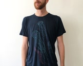 Jelly Fish -Unisex screen printed Tshirt - Dark blue