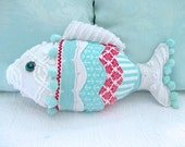 Nautical Vintage Chenille Mixed Fabric Fish Pillow, Turquoise/Red/White, Glass Eye