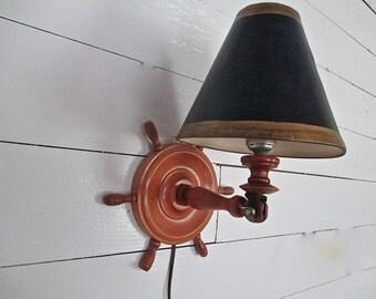 Nautical Vintage Wood Ship Wheel Wall Lamp, Navy/Gold Shade