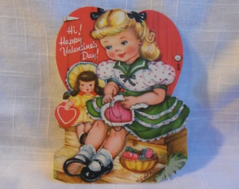 Vintage 40s Gibson Valentine Sewing Girl Doll