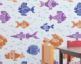 Fish Tales Wall Stencil for Wall Decor DIY Wallpaper Look