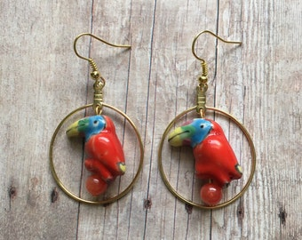 Red toucan earrings