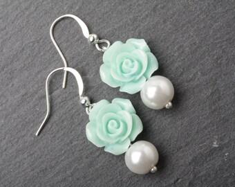 Mint Bridesmaid earrings, Mint rose earrings, mint wedding earrings, mint bridesmaid gift, garden wedding earrings, rustic wedding earrings