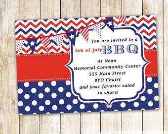 4 July Invitation BBQ Adult Kids Birthday Party Baby Shower Barbecue Personalized 4th of July Printable Party Items Independence Day