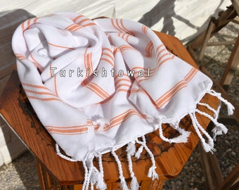 Turkishtowel-Soft-Hand woven,warp&weft cotton Hand,Tea,DishTowel-Twill pattern,Orange stripes on White