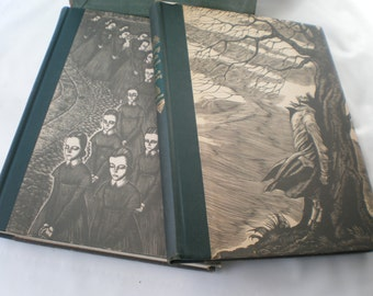Vintage 1943 Book Set Jane Eyre and Wuthering Heights by Charlotte Bronte with Cardboard Sleeve