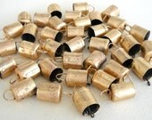 50 Golden Colored Hand Made Cow Bells for Wind Chimes Craft Art with Jute Rope - DIY - MV135
