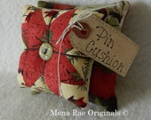 Pin Cushion ~ Original Design Pin Keeper ~ Mothers Day Gift ~ Quilter Gift ~ Sewing Gift ~ Red, Green and Creme