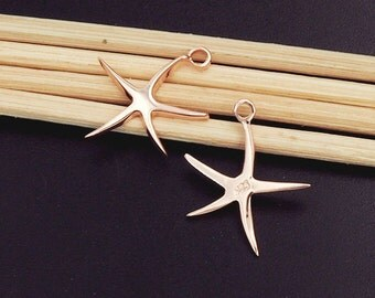 2 of 925 Sterling Silver Rose Gold Vermeil Style Starfish Charms 13.5mm.  :pg0132