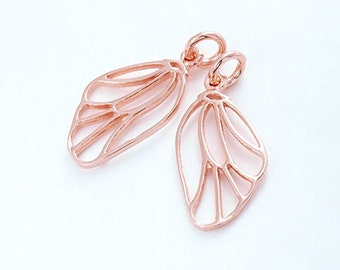 2 of 925 Sterling Silver Rose Gold Vermeil Style Dragonfly Wing Charms 10x16 mm. :pg0076
