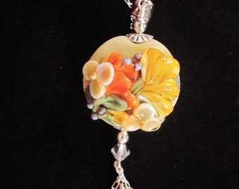 "Sterling Silver Necklace - AAA Gemstones and ""Autumn Floral"" Artisan Lampwork Glass, Crystals, Unique, OOAK, SRAJD, Pendant,"