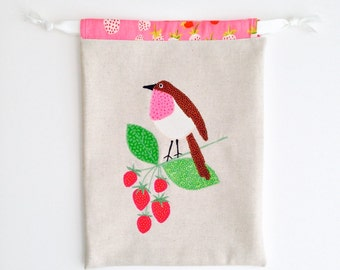 Appliqued drawstring bag - fabric and reusable - eco friendly - Easter
