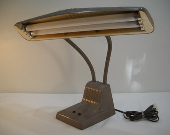 Vintage Double Gooseneck Industrial Desk Lamp By Dazor