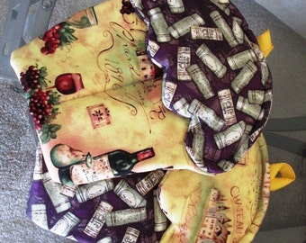 Handmade Cupcake Potholder with purple and gold rustic wine and cork themed oven mitts
