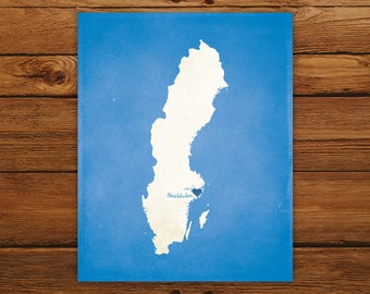 Customized Sweden 8 x 10 Country Art Print, Country Map, Heart, Silhouette, Aged-Look Print