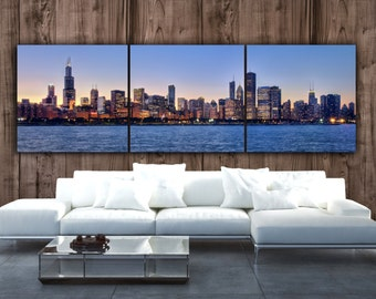 Chicago Skyline on Canvas, Large Wall Art, Chicago Print, Chicago art, Chicago  Photo, Chicago Canvas, Panoramic, Chicago Sunset Poster