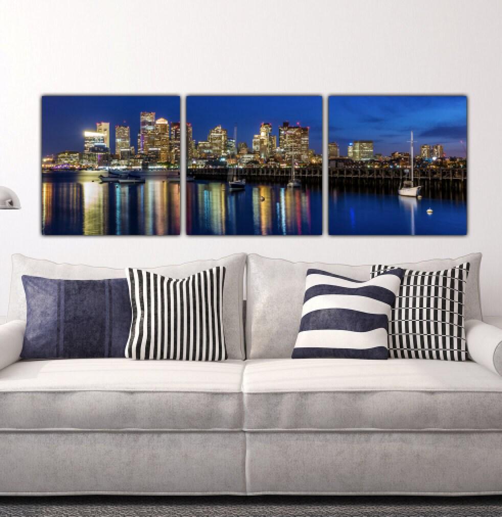 Boston Skyline On Canvas Large Wall Art Boston Print Boston