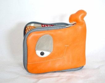 Autumn mushrooms Whale wallet, orange leather, Ooak