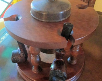 Vintage Large Round Wood 4 Pipe Rack with Plastic Tobacco Container.  G-387