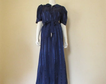 30's Vintage Satin Stripe Glam Dressing Gown