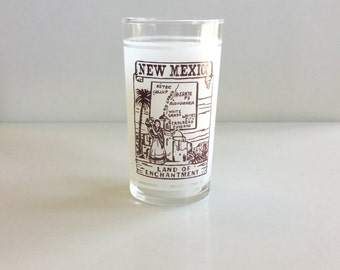 Vintage NEW Mexico Frosted Souvenir Glass