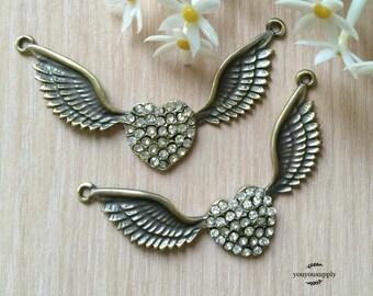 2pcs Large Love Wings Pendant Charm