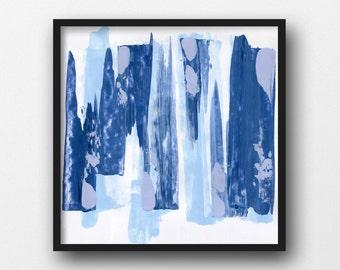 Square Art Print, Wall Decor, Sky Blue Office Artwork, Fine Art Print, Baby Blue Nursery Decor, Peaceful Wall Art, Calm Room Decor