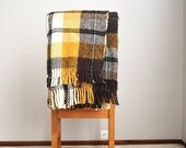 July SALE - 15% Off - Vintage 70s Brown Tan Yellow Plaid Picnic Stadium Throw Blanket //  The Bay ~ Italian made