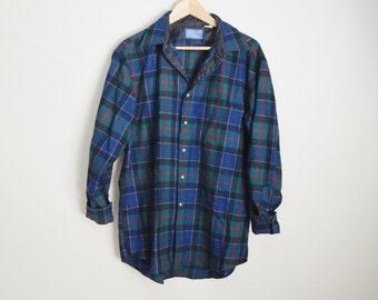 Vintage 80s Blue Green Plaid Macphedren Plaid Wool PENDLETON Shirt // mens large
