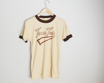 vintage 70s texas tech tan and brown mint ringer t-shirt tee -- xsmall small - unisex