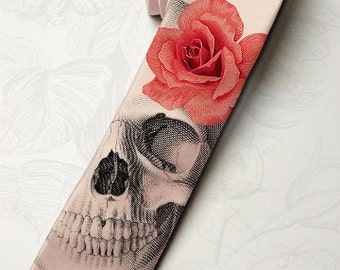 Men's gothic wedding necktie. Dia de los muertos necktie with red rose. Horror skeleton hipster necktie. Halloween party pink necktie.