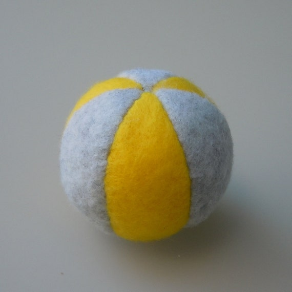 Catnip Ball Cat Toy Light Gray and Yellow Fleece