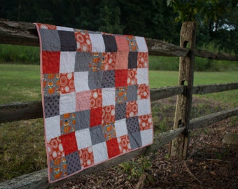 Baby Quilt Orange and Gray