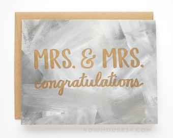 Lesbian Wedding Card - Mrs. & Mrs. Congratulations Card - Lesbian Engagement Card