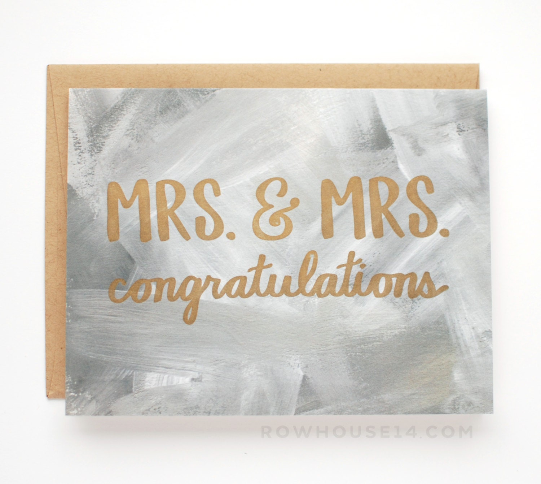 Lesbian Wedding Card Mrs & Mrs Congratulations Card