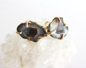 Agate Geode Stud Earrings - Crystal Mineral Jewelry - Druzy Earrings