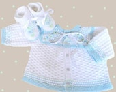 Hand knitted baby set, knitted baby sweater, knitted baby booties, knitted baby clothes, CUSTOM