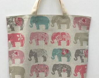 Elephants Tote bag, Elephant print Tote, Fabric Tote Bag, Book Bag, Shopping Bag, Market Bag, Elephant print Tote bag, Elephant fabric, bag,