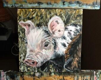 Berkshire Piglet 8x8 original acrylic painting piglets baby pig