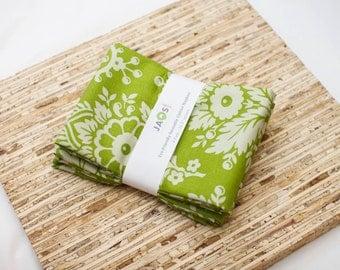 Large Cloth Napkins - Set of 4 - (N2380) - Green Flower Modern Reusable Fabric Napkins
