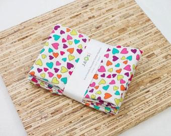 Large Cloth Napkins - Set of 4 - (N4160) - Heart Colorful Modern Fun Reusable Fabric Napkins