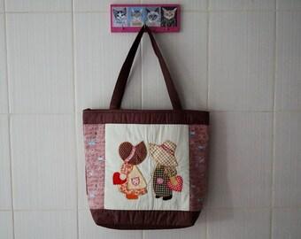 Fabric Shoulder Bag, Quilted Tote Handbags, Sue Brown Summer Handbag, Applique bag